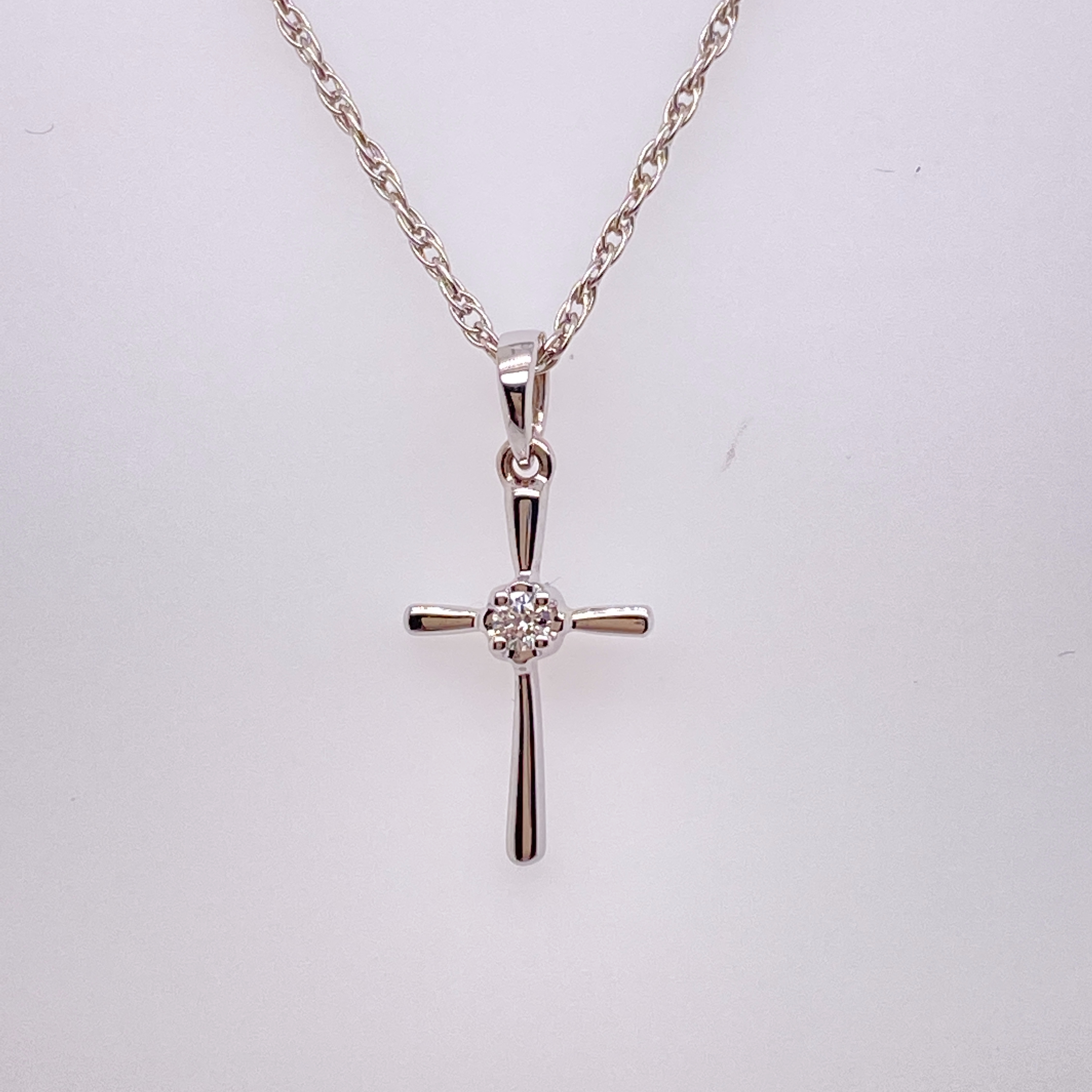 White Gold And Diamond Cross