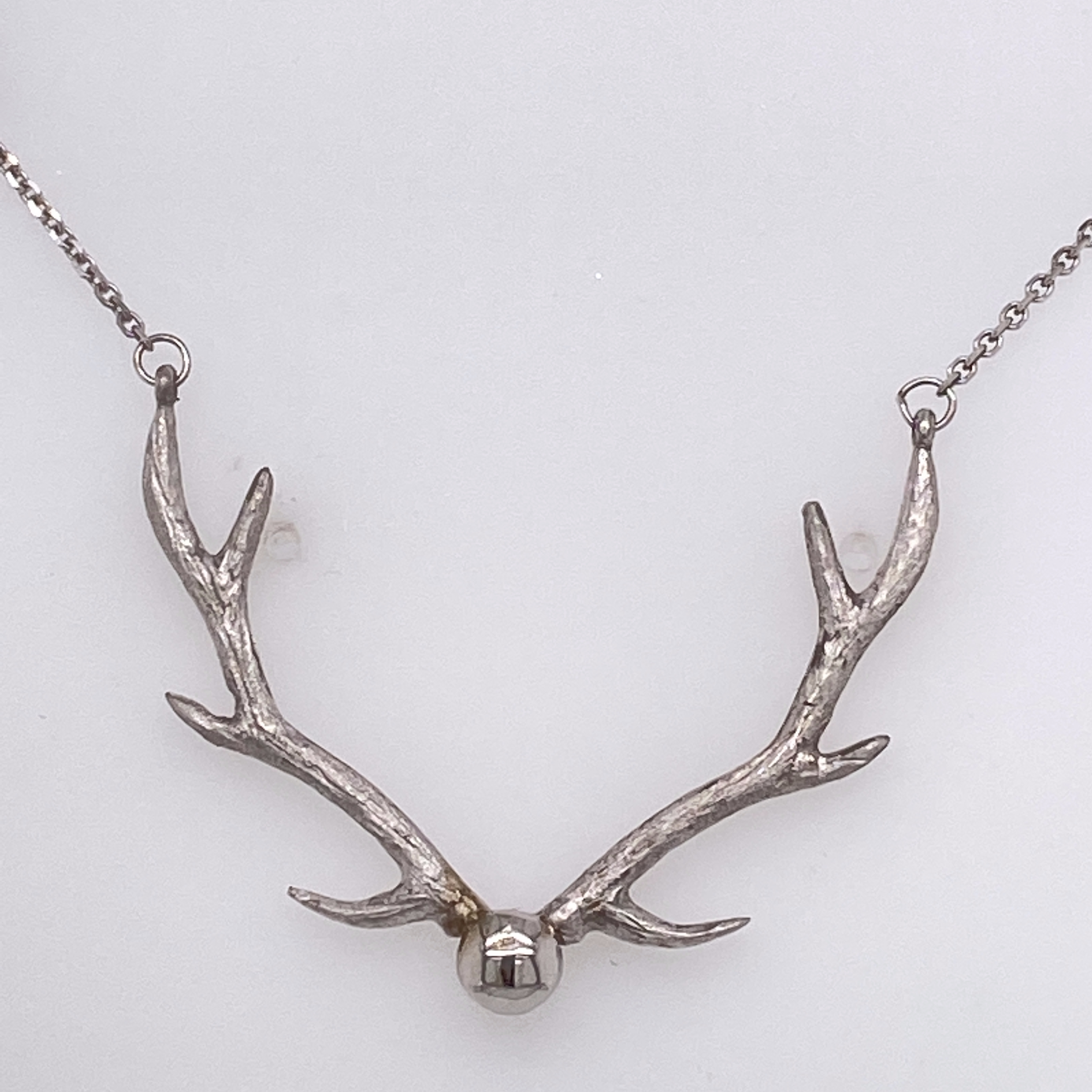 14 Karat White Gold Antler Necklace