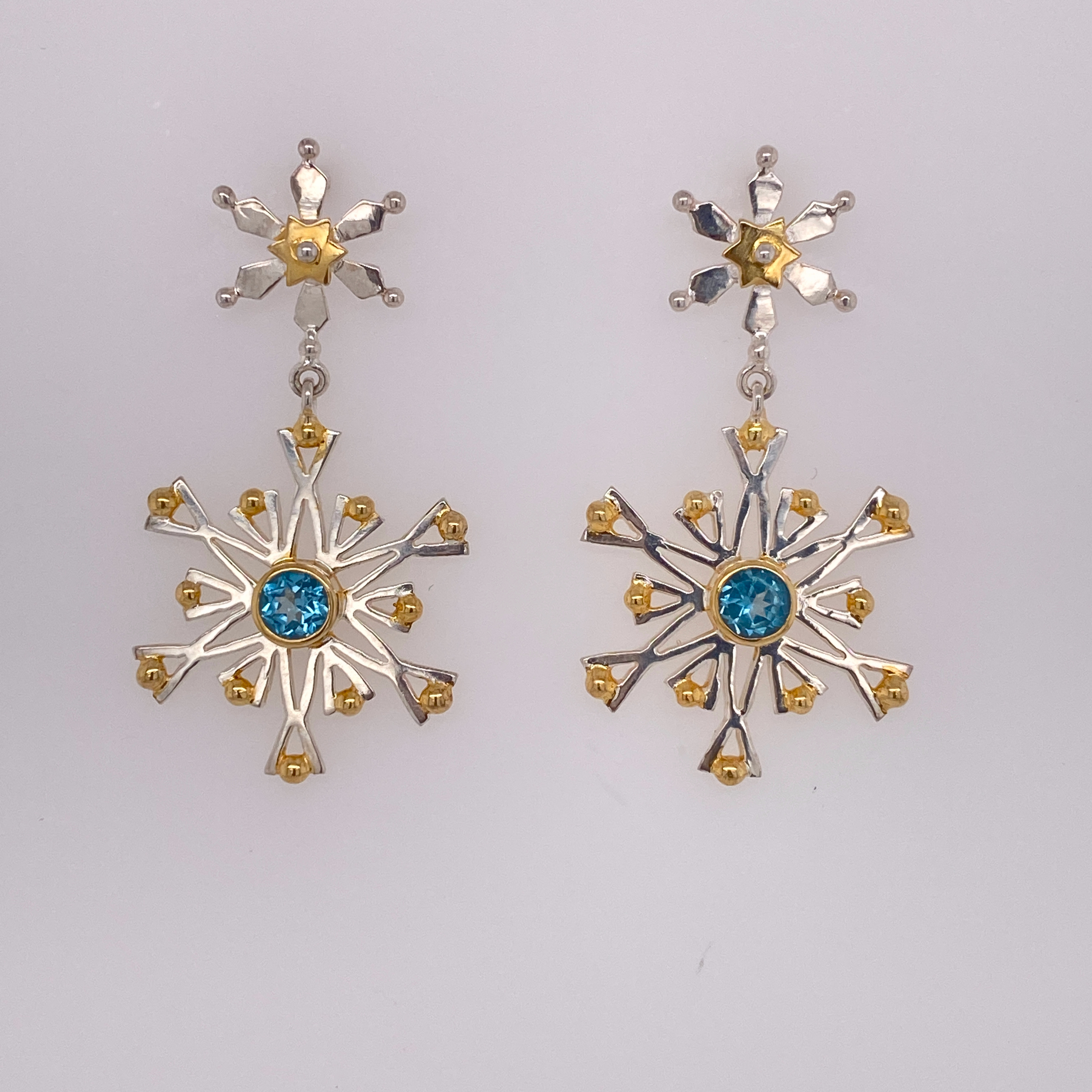 Sterling Silver and Gold Vermeil Snowflake Earrings