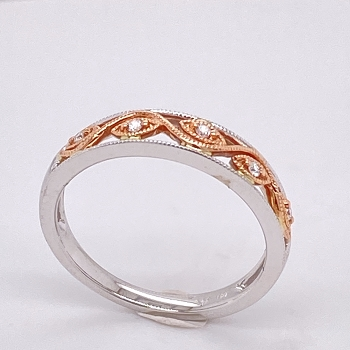 White and Rose Gold Diamond Band