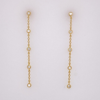 Yellow Gold and Diamond Drop Earrings
