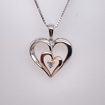 White and Rose Gold Heart Pendant