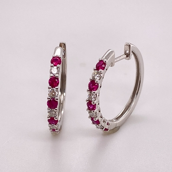 Diamond and Ruby Earrings
