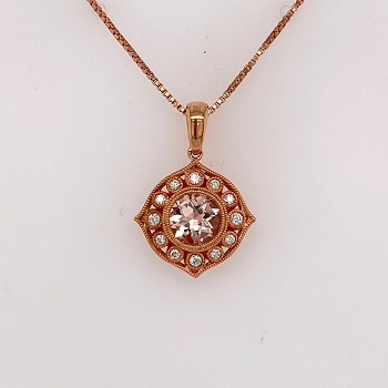 Rose Gold Morganite Pendant