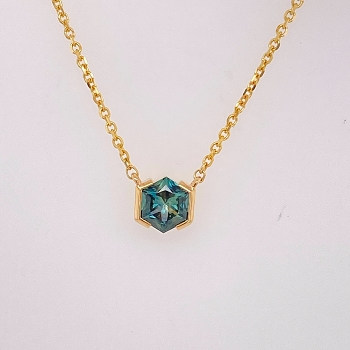 Yellow Gold Montana Sapphire Necklace