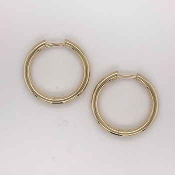 14 Karat Yellow Gold Medium Hoops