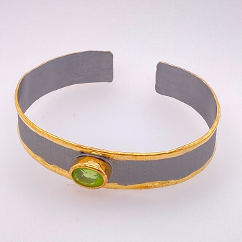 Silver and Gold Overlay Bracelet with Peridot