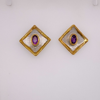 Silver and Gold Overlay Earrings with Amethyst