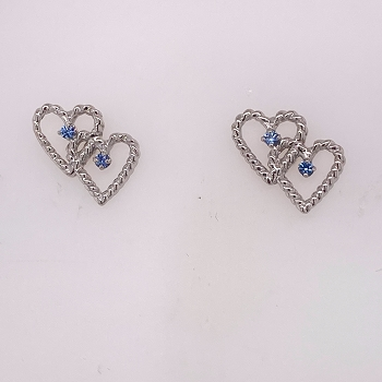 Sterling Silver Yogo Sapphire Heart Earrings
