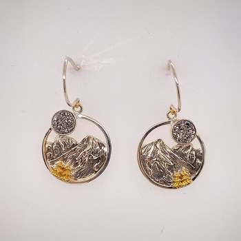 Sterling Silver and Gold Vermeil Druzy Earrings