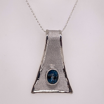 Silver and Gold Overlay Necklace with London Blue Topaz