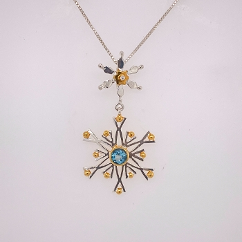 Sterling Silver and Gold Vermeil Snowflake Pendant
