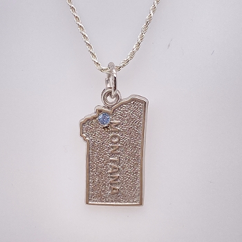 Sterling Silver Montana Charm Pendant with Yogo Sapphire