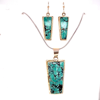 Sterling Silver Turquoise Necklace and Earring Set
