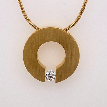 Yellow Stainless Steel Pendant with Cubic Zirconium